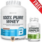 BioTech USA 100% PURE Whey Protein 2.27kg + FREE Vitamin Complex 60