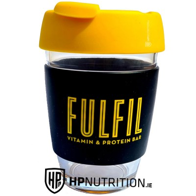 Fulfil Reusable Coffee Cup (Glass), Spill-Proof Lid , Anti-Slip Thermal Sleeve
