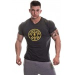 Golds Gym Premium Crew Muscle Fit T Shirt - Charcoal Marl