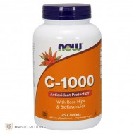 NOW Foods Vitamin C 1000mg with Rose Hips & Bioflavonoids 250 Tabs