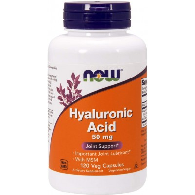 NOW Foods Hyaluronic Acid 50mg with MSM 120 Veg Capsules
