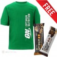 Optimum Nutrition T shirt Green + FREE Protein Bars