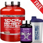 Scitec 100% Whey Protein Professional 2.35Kg + BCAA X 120 Caps + Shaker