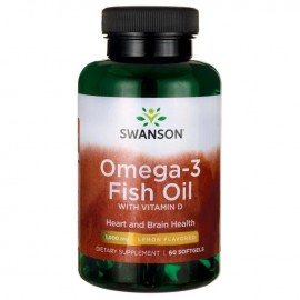 Swanson Omega 3 Fish Oil with Vitamin D3  - 60 Softgels
